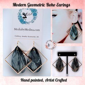 🆕Modern Geometric Boho Earrings, Hand Painted